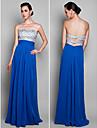 저녁 정장파티/프롬/밀리터리 볼 드레스 - 로얄 블루 시스/컬럼 바닥 길이 스위트하트 쉬폰 플러스 사이즈