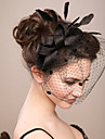 Women Feather/Net Bride Bowkont Flowers/Birdcage Veils With Wedding/Party Headpiece(More Colors)