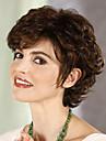 eleganta brun vidskepelse kort lockigt hår syntetiska peruker