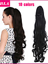 Natural Black / Dark Brown / Lightest Brown / Bleach Blonde / Strawberry/Bleach Blonde (#P27.613) Synthetic Ponytail Curly Clip In