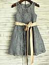 A-linie genunchi lungime floare fata rochie - dantelă satin fără buzunar gât cu panglică