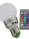 3W E26/E27 LED-globlampor 1 Högeffekts-LED 100—130LM(lm) lm RGB Fjärrstyrd / Dimbar AC 85-265 V 1 st