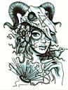 1-Series de totem-Noir-Motif-22*16*0.2cm- enPapier-Tatouages AutocollantsHomme / Femme / Adolescent
