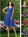 Knee-length Chiffon Bridesmaid Dress - Ruby / Grape / Royal Blue / Champagne Plus Sizes / Petite A-line V-neck