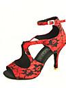 Aanpasbaar - Voor dames - Dance Schoenen ( Zwart/Groen/Rood ) - met Aangepaste  hak - en Latijn/Salsa