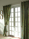Two Panels Embroidery Panel Curtains Drapes Green