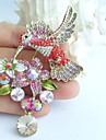3.54 Inch Gold-tone Multicolor Rhinestone Crystal Hummingbird Brooch Art Deco