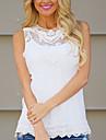 Femei Stil Nautic Bluză Casul/Zilnic Simplu(ă),Mată / Floral Fără manșon Toamnă-Alb / Oranj Subțire Bumbac