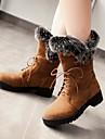 Dame Primăvară Toamnă Iarnă Pantofi la Modă Lână Blană Rochie Casual Toc Gros Cataramă Dantelă Negru Maro Galbem