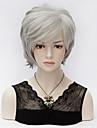 högkvalitativ grå gradient korta lager raka cosplay mode peruk bobo stil syntetiskt hår peruk