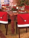 uppsättning av 4 Santa Red Hat stolsöverdrag juldekorationer middag stol xmas cap uppsättningar