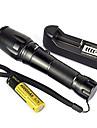 LED-Ficklampor LED 5 Läge 2000 Lumen Justerbar fokus / Vattentät / Laddningsbar / Stöttålig / Strike Bezel / Taktisk / NödsituationCree