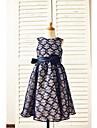 A-line Tea-length Flower Girl Dress - Lace Sleeveless Jewel with