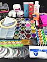 74pcs akryl puderborste glitter fil spik set