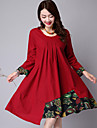 Women\'s Casual/Daily Plus Size / Vintage Loose Dress,Solid / Color Block / Patchwork Round Neck Knee-length Long SleeveBlue / Red /
