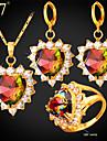 Set bijuterii Zirconiu Cubic Cristal Auriu Zirconiu Zirconiu Cubic Auriu Nuntă Petrecere Zilnic 1set 1 Colier 1 Pereche de Cercei 1 Inel