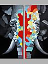 Pictat manual Abstract / AnimalModern Două Panouri Canava Hang-pictate pictură în ulei For Pagina de decorare