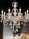 Retro Cognac Color K9 Crystal  Modern Chandelier with 8 Lights