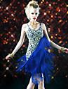 Latin Dance Dresses Women\'s Performance Polyester Tassel(s) 1 Piece Black / Royal Blue