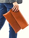 Unisex PU Fold over Clutch Clutch - Orange / Gray / Black