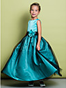 A-line Ankle-length Flower Girl Dress - Satin / Tulle Sleeveless Jewel with Flower(s)