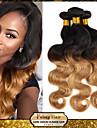 3pcs / lot 1B / 27 cheveux humains vierges tisse cheveux de vague de corps de trame faisceaux de cheveux bresiliens Ombre cheveux