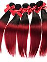 Ombre malaisie vierge cheveux raides tisse des trames de cheveux 50g / pcs de deux tons soyeux tissages de cheveux humains droites