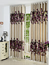 Two Panels Purple Floral  Botanical Polyester Panel Curtains Drapes