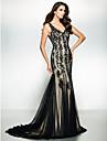 ts couture® de noite formal / black tie vestido de gala trompete / sereia v-pescoco varrer / tule trem pincel com apliques