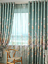 Deux Panneaux Rustique / Moderne / Neoclassique Floral / Botanique Beige Chambre a coucher Polyester Panneau Rideaux rideaux