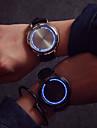 Bărbați Ceas La Modă Ceas de Mână Unic Creative ceas Quartz LED Ecran Touch Piele Bandă Cool Creative Negru Negru Argintiu