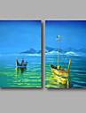 HANDMÅLAD Landskap / Abstrakta landskapModerna Två paneler Kanvas Hang målad oljemålning For Hem-dekoration