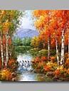 redo att hänga sträckte handmålade oljemålning duk vägg konst vårtbjörk skogsträd sommar river en panel