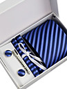 Cravată / Buzunar Pâtrat / Clip Cravată / Butoni ( Albastru , Poliester ) Dungi