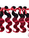 evet 1st mycket 7a ombre malaysiska jungfru hår förkroppsligar vinkar # 1BT # burgundy ombre hårförlängningar två ton människohår väver