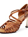 Chaussures de danse(Noir Marron) -Non Personnalisables-Talon Aiguille-Satin Cuir-Latine Salon