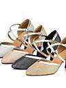 Chaussures de danse(Noir Ivoire Argent Or) -Personnalisables-Talon Aiguille-Satin-Moderne