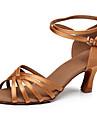 Chaussures de danse(Noir Marron Multicolore) -Personnalisables-Talon Personnalise-Satin-Latine Salsa Samba