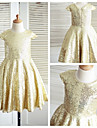 A-line Knee-length Flower Girl Dress - Sequined Short Sleeve Jewel with
