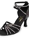 Chaussures de danse(Noir) -Non Personnalisables-Talon Bobine-Satin Cuir-Latine