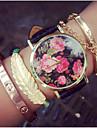 pentru Doamne Ceas La Modă Quartz Cronograf PU Bandă Flori Negru Albastru Verde Pink Negru Verde Albastru Roz