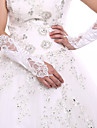 Elbow Length Fingerless Glove Flowers White Satin Bridal Lace Party Evening Wedding Gloves+DIY Pearls and Rhinestones