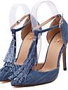Homme-Habille-Bleu-Talon Aiguille-Talons / Bout PointuToile de jean