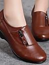 Pantofi pentru femei - Nappa Leather - Toc Pană - Confortabili / Vârf Rotund - Oxford - Casual - Negru / Maro