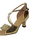 Chaussures de danse ( Noir / Marron / Rouge / Blanc / Argent / Or ) - Non Personnalisables - Talon Bottier - Satin / Similicuir -Latine /