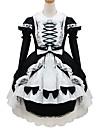 Une Piece/Robes Tenus de Servante Doux Lolita Classique/Traditionnelle Lolita Cosplay Vetrements Lolita Noir Couleur PleineManches