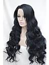 spets främre högkvalitativa värme vänliga syntetiskt hår svart vågigt länge hela peruk HHG-9207 1 #