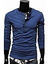 Bărbați Tricou Casul/Zilnic Plus SizeMată Manșon Lung Bumbac Poliester