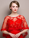 Red Sleeveless Wedding / Party/Evening Chiffon Shawls with Rhinestones