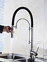 Contemporary Pull-out/Pull-down Centerset Pullout Spray with  Ceramic Valve Single Handle One Hole for  Chrome , Kitchen faucet